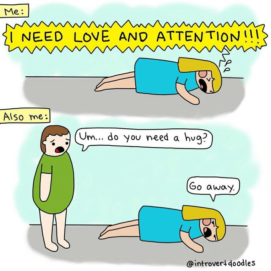 Introvert Doodles - Attention Paradox