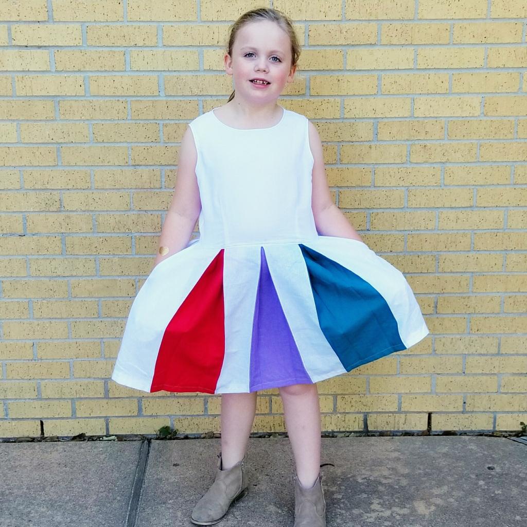 Rainbow Pleat Dress - front