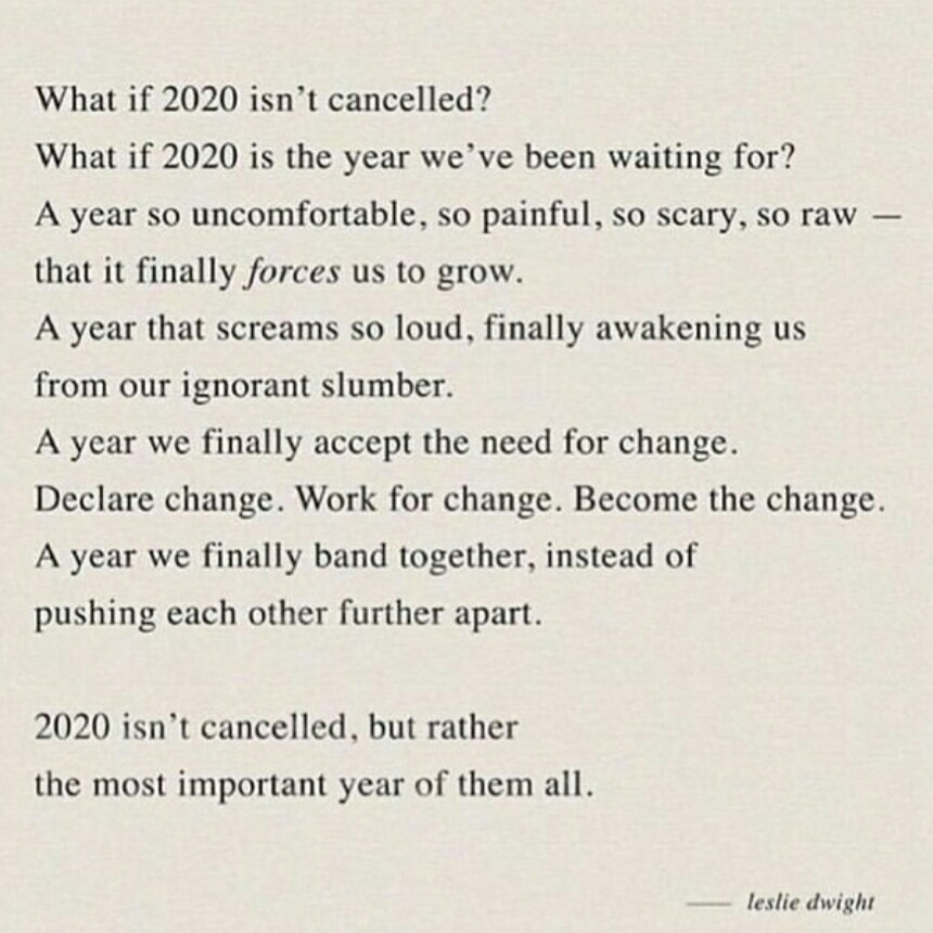 What if 2020 isn't cancelled? by Leslie Dwight