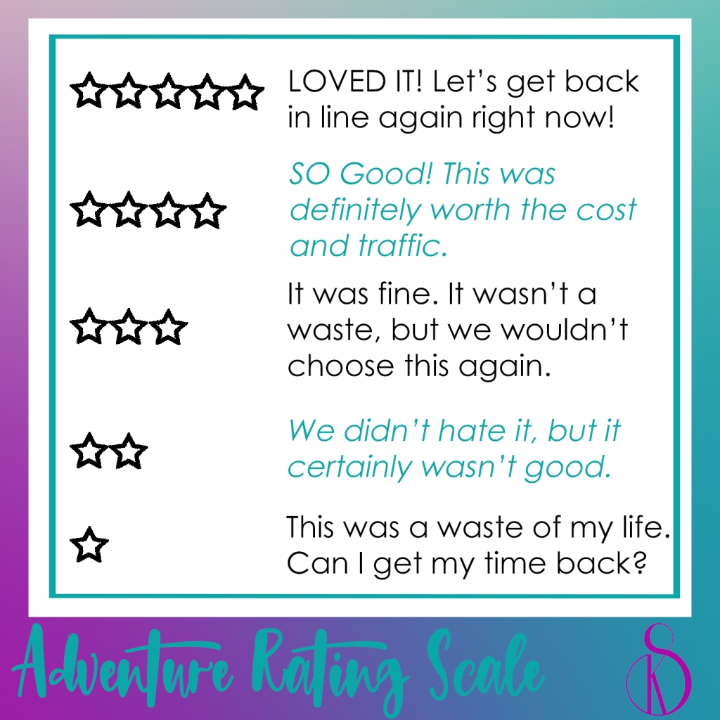 SandyKay Adventure Rating Scale by stars
